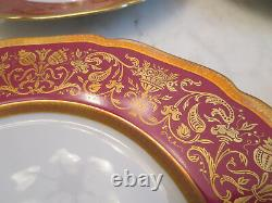 10 Hutschenreuther Hohenberg Antoinette Red & Raised Gold Dinner Scallope Plates