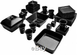 10 Strawberry Street Nova Square Banquet 45-Piece Dinnerware Set, Black