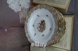 11x French Porcelain dinnerware set Limoges Plates dinner marked