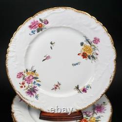 12 Antique GD&C Limoges France Floral Embossed Dinner Cabinet Plates Plate Set