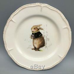 12 Magenta VINTAGE SPRING 6 Appetizer Dessert Plate Set Easter Rabbit Bunny NEW