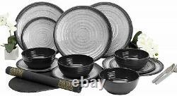 12-Piece Melamine Dinner Set Granite Grey Plates Summer Camping BBQ Dining for 4