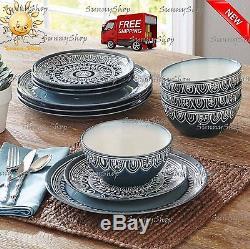 12 Piece Round Dinnerware Set Dishes Dinner Teal Medallion Plates Kitchen NEW