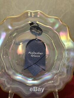 12 pc Set White Pearl 4 Salad Dinner Plate Bowl Swirl Luster Gold Trim Alabaster