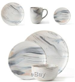 12pc Dinner Set HandPainted Dining Plates Bowls Marble Effect Crockery Stoneware