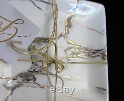 12pc Grace's Marbled White Gray Gold Elegant Dinnerware Set Dinner Salad Plates