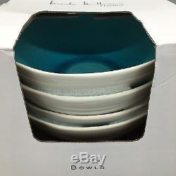 12pc Nicole Miller Crackled Turquoise Aqua Stoneware Dinner Salad Plate Bowl Set