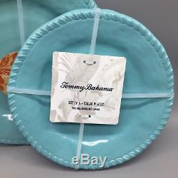 12pc Tommy Bahama Melamine Dinner Salad Plate Bowl Set Aqua Nautical Rope NEW