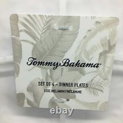 12pc Tommy Bahama Melamine Dinner Salad Plate Bowl Set White Wavy Hobnail Edge