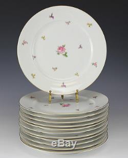 12pc set Rosenthal Hillside Dinner Plates small overall floral design, gilt trim