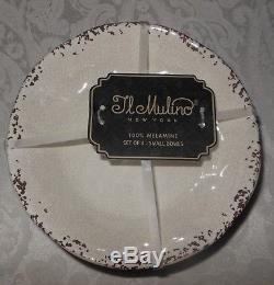 13 Pc Set IL Mulino Melamine Dinner Salad Plates Bowls Platter Tray Beige NWT