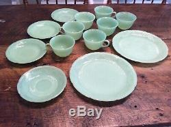 13 Piece Set of Jadeite Jadite Fire King Alice Dinner Plates Cup and Saucer Sets