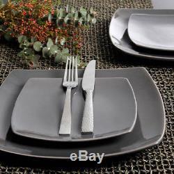 16 32 Piece Dinnerware Set Stylish Square Gray Grey Plates Bowls Mugs Dinner Tab