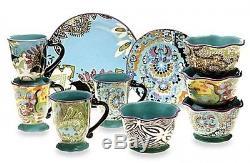 16 Pc Dinnerware Set Dinner Plates Dishes Cups Bowl Small Bohemian Soho Rose