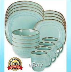 16 Pcs Aqua Square Dinnerware With Rustic Brown Rim Dinner Plates Dishes Set