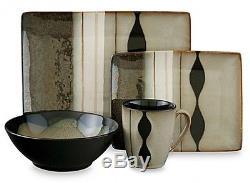 16-Piece Black Modern Dinnerware Set Service Dishes Kitchen Plates Dinner Cups
