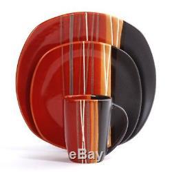 16 Piece Dinnerware Set Home Dinner Kitchen Serving Dishes Stoneware Plates Kit