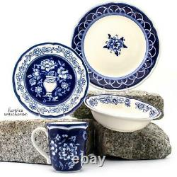 16 Piece Dinnerware Set Stoneware Blue French Country Dinner Dishes Plates Bowls