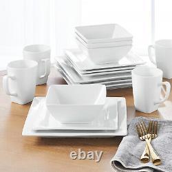16-Piece Porcelain Dinnerware Set Square White Dinner Plates Dishes New