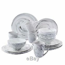 16 Piece Round Dinner Set Ceramic Porcelain Stoneware Crockery Dinning Set Black