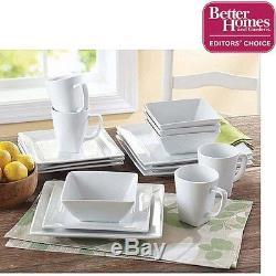 16 Piece Square Dinner Set Dining Bowls Plates Dishes Mug Porcelain Dinnerware