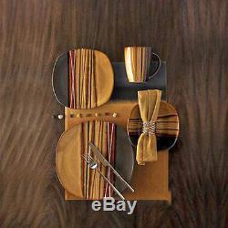 16 Piece Square Dinnerware Set Dishes Dinner Stoneware Plates Kitchen China Mugs