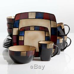 16 Piece Square Kitchen Dinnerware Set Plates Bowls Modern Stoneware Dish