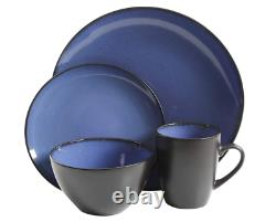16 Piece Stoneware Round Dinnerware Set Plates Bowls Mugs Service for 4, Blue