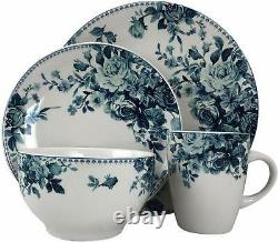 16 Piece Traditional Rose Stoneware Dinnerware Set Blue Service for 4