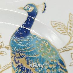 16pc 222Fifth Peacock Garden Dinnerware Dinner Salad Plate Soup Bowl Mug Set NEW