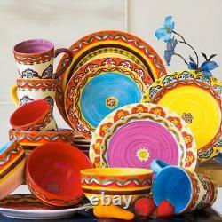 16pc Mexican Dinnerware Set Spanish Kitchen Dinner Plates Stripe Dish Southwest