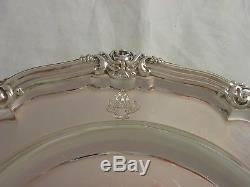 1838 Victorian Crested Set 4 Silver Dinner Plates 2476 grams Robert Garrard