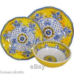 18PC Benidorm Yellow Top Quality Outdoor Patio Melamine Dinnerware Set for Six