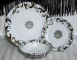 18pc CIROA LUXE Fiori SILVER Swirls DINNER SALAD PLATES BOWLS SET OF 18 SERV 6