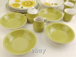 19 pc Set Mid Century Mikasa Cera Stone Tampa Green Dinner Plates Bowls Cups