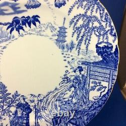 1939 Royal Crown Derby Blue Mikado Bone China 10.25 Dinner Plates Set Of 4