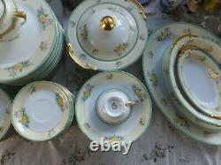 1960's Green floral dinnerware dinner china set 89 pieces made in Japan