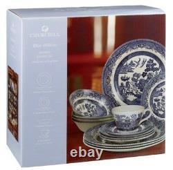 20 Piece Blue Churchill China Willow Dinner/tea Set Home Kitchen New