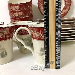 222 Fifth ANDOVER 22 Pc Set Dinner Salad Plate Bowl Mug Red Christmas Log Cabin