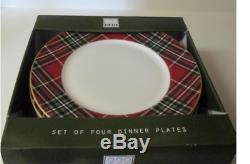 222 Fifth WEXFORD RED Plaid Tartan 12 Dinner Plates NIB Set of Twelve 12