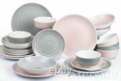 24 Piece Porcelain Crockery Dinner Dining Set Plates Mugs Bowls Set for 6 Pink