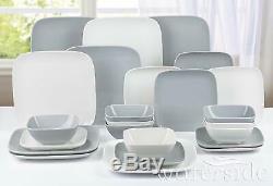 24Pc Square Dinner Set Stoneware Crockery Dining Plates Bowls 8 Place Setting