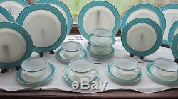 26 PCS PYREX USA TURQUOISE BLUE GOLD DINNER SET PLATES CUPS SAUCERS 1950s