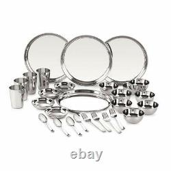 28 Pcs Stainless Steel Dinner Service Set 24 Gauge Plates Bowl Glass Spoon Fork
