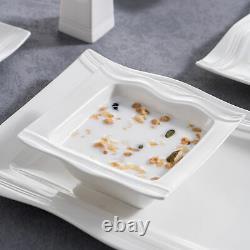 28-Piece MALACASA Mario Porcelain Dinnerware Set for 6 Dinner Kitchen Dishes Set