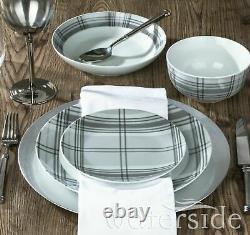 30 Piece Crockery Dinner Plates Bowls Mugs Dinnerware Tableware Dinning Set Grey