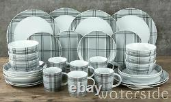 30 Piece Porcelain Dinner Set Soup Dessert Plate Pasta Bowls Mugs Dining Set New