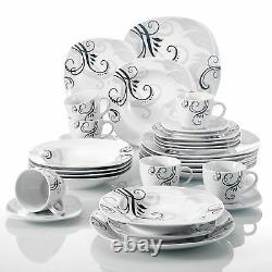 30-Pieces Dinner Set Crockery Dining for 6 People Plate Bowl Complete Tableware