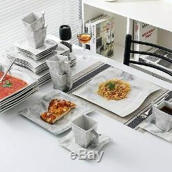 30 Pieces Dinner Set Plates Coffee Cup Porcelain Crockery Dinnerware Dining Set