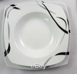 30pc Dinner Set Porcelain Stoneware Square Dinnerware Cups Saucer Plates Kitchen